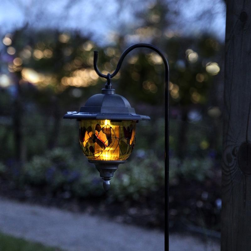 led solar laterne garden lantern 98 5cm mit buntem dekor. Black Bedroom Furniture Sets. Home Design Ideas