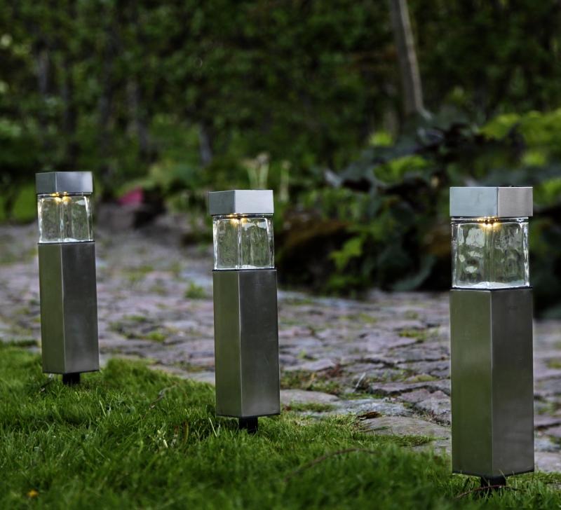 led solarleuchte square light edelstahl echt glas 275x55mm warmwei. Black Bedroom Furniture Sets. Home Design Ideas