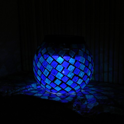 solar led leuchte mosaik licht blau gartenleuchte ebay. Black Bedroom Furniture Sets. Home Design Ideas