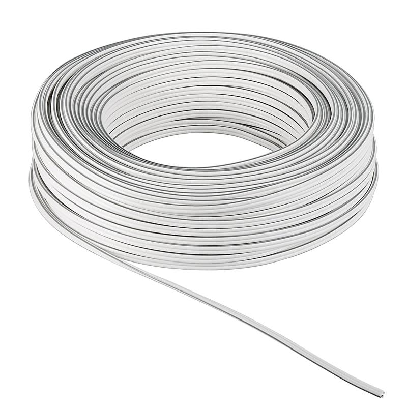10m flexible Zwillings-Litze 2x1,5mm² weiß-weiß/grau