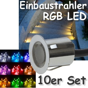 10er set rgb led bodeneinbauleuchte f r au en. Black Bedroom Furniture Sets. Home Design Ideas
