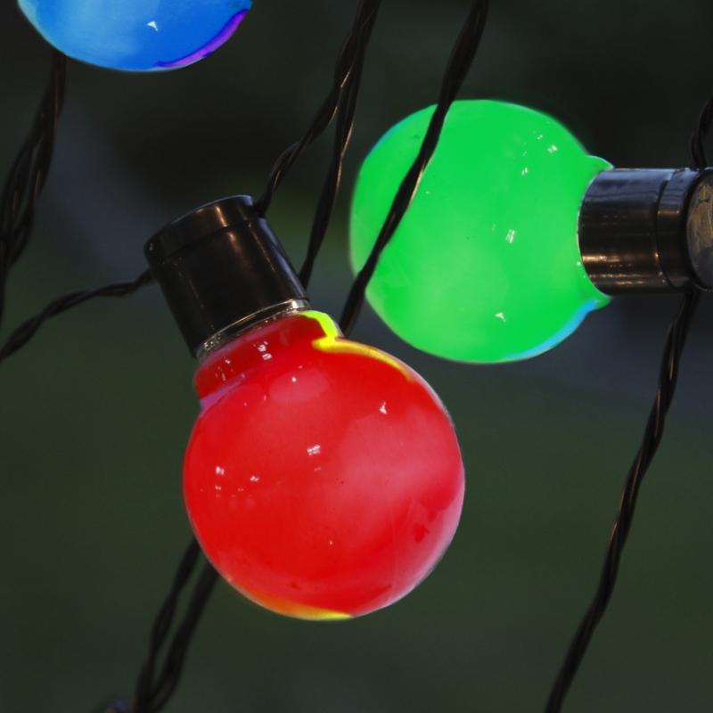 led party lichterkette lightchain bunt kabel schwarz mit 16 gl hbirnen 9 5m 230v. Black Bedroom Furniture Sets. Home Design Ideas