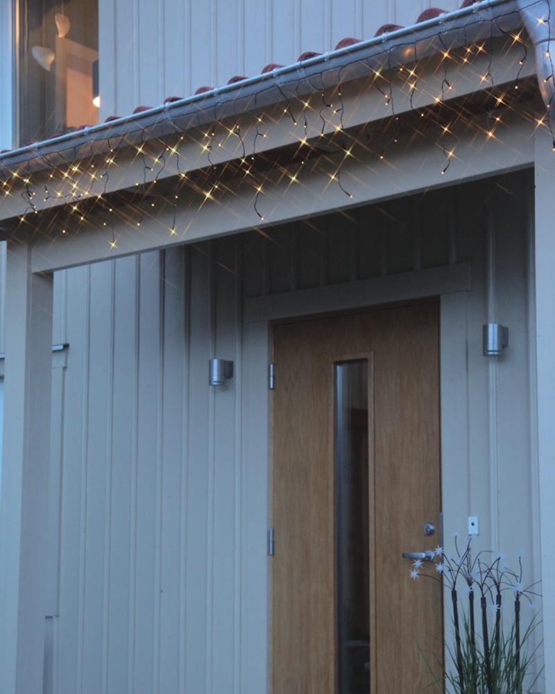 led lichtervorhang 144 192 leds 4 m outdoor ip44 lichterkette lichterstrang ebay. Black Bedroom Furniture Sets. Home Design Ideas