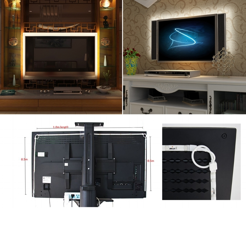 rgb led tv hintergrundbeleuchtung set f r 42 65 107 165cm fernseher ambient ebay. Black Bedroom Furniture Sets. Home Design Ideas