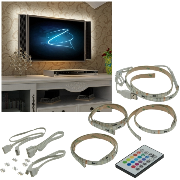 rgb led tv hintergrundbeleuchtung set f r 42 65 107 165cm fernseher ambient ebay. Black Bedroom Furniture Sets. Home Design Ideas