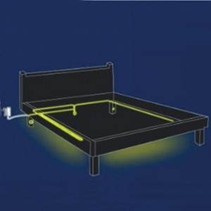 led bettbeleuchtung set 2x sensor und strip warmwei. Black Bedroom Furniture Sets. Home Design Ideas