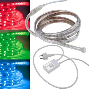 5m led stripe rgb 230v dimmbar ip44 smd licht streifen flexibel. Black Bedroom Furniture Sets. Home Design Ideas