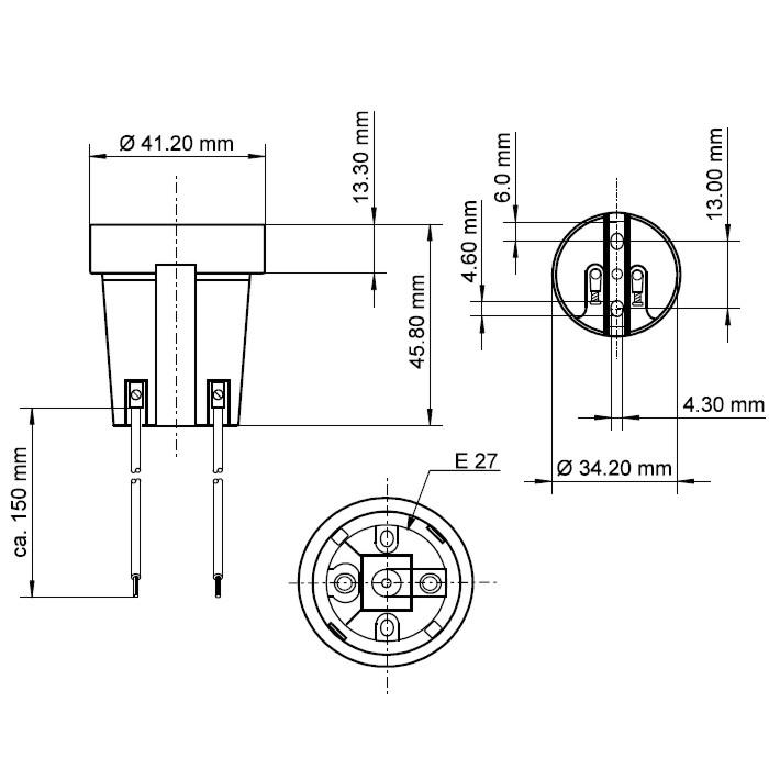 Sockel Kok 15 Cm :  15cm Kabel for Leuchtmittel mit E27 Sockel Fassung  zB Led