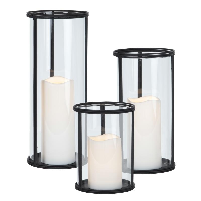 Glas Windlicht XL Laterne mit LED Kerze Timer Innen Außen flammenlose ...