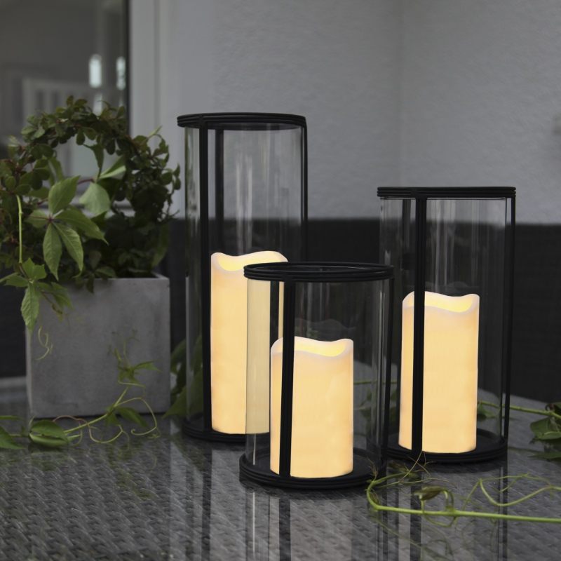 glas windlicht xl laterne mit led kerze timer innen au en flammenlose candle xxl ebay. Black Bedroom Furniture Sets. Home Design Ideas