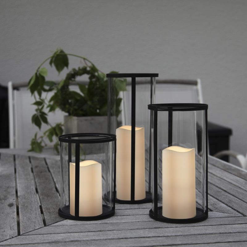 glas windlicht 25x13cm laterne xl mit led kerze timer au en innen. Black Bedroom Furniture Sets. Home Design Ideas