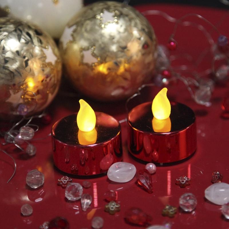 2er set led teelichter flackernd rot mit flackernder led teelicht kerze kerzen leds. Black Bedroom Furniture Sets. Home Design Ideas