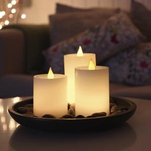 3er set led echtwachs kerzen mit licht sensor autom an flackernd leds kerze. Black Bedroom Furniture Sets. Home Design Ideas