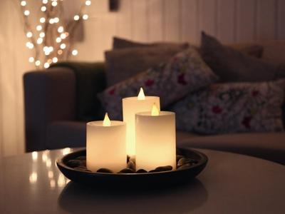 3er set led echtwachs kerzen mit licht sensor autom an flackernd leds kerze ebay. Black Bedroom Furniture Sets. Home Design Ideas