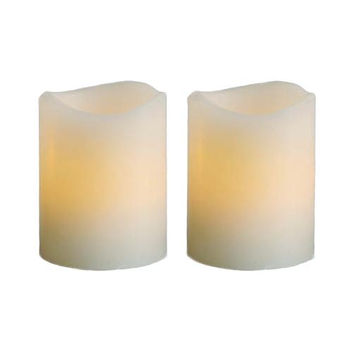 2er set led echtwachs kerzen 65x48mm flackernde leds flammenlose kerze flackernd. Black Bedroom Furniture Sets. Home Design Ideas