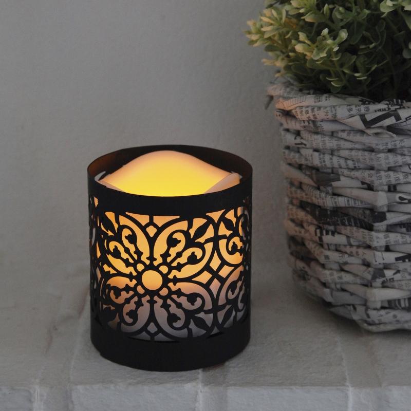 laterne mit led kunststoff kerze lantern 9 mit timer. Black Bedroom Furniture Sets. Home Design Ideas