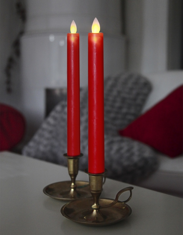 2 led stabkerzen glim wax bewegliche flamme timer echtwachs mantel flammenlose ebay. Black Bedroom Furniture Sets. Home Design Ideas
