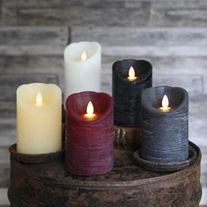 led kerze glim frost schwarz 13x8cm mit beweglicher flamme timer echtwachs. Black Bedroom Furniture Sets. Home Design Ideas