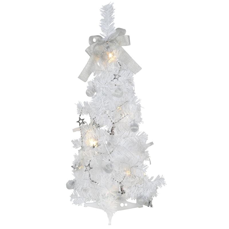 wei er led tannenbaum minitree 60cm wei lieferung mit roter deko lichterkette mit timer. Black Bedroom Furniture Sets. Home Design Ideas