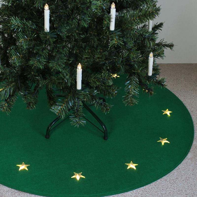 Led Weihnachtsbaum Teppich ROT mit beleuchteten Sternen, Baumteppich