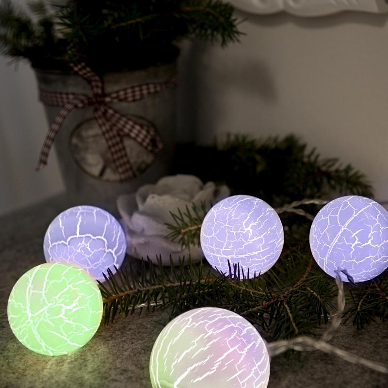 led lichterkette 6 kugeln timer batteriebetrieb christbaumkugeln weihnachtsdeko ebay. Black Bedroom Furniture Sets. Home Design Ideas
